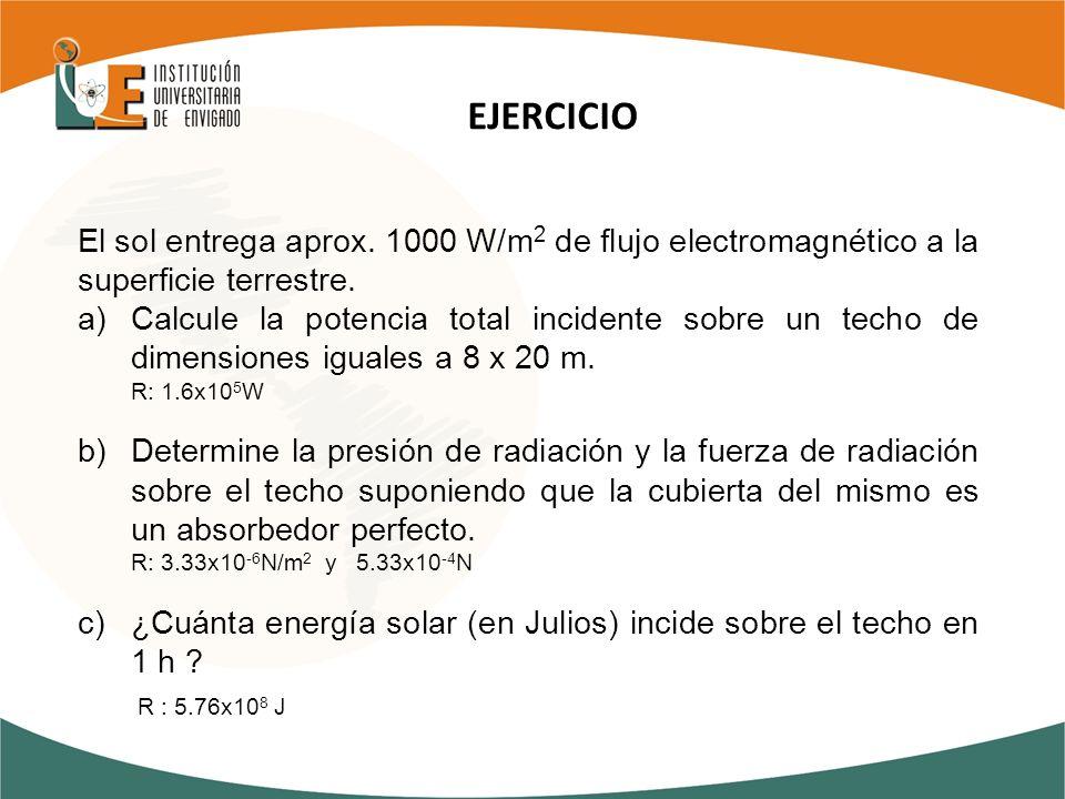 El sol entrega aprox. 1000 W/m 2 de flujo electromagnético a la superficie terrestre. a)Calcule la potencia total incidente sobre un techo de dimensio