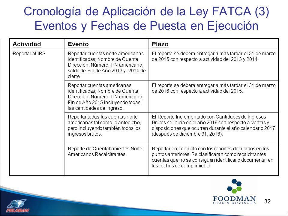 32 Cronología de Aplicación de la Ley FATCA (3) Eventos y Fechas de Puesta en Ejecución ActividadEventoPlazo Reportar al IRSReportar cuentas norte ame