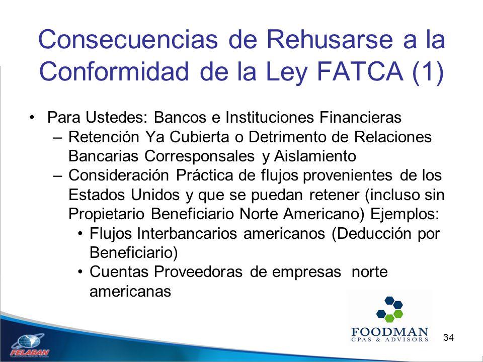 34 Consecuencias de Rehusarse a la Conformidad de la Ley FATCA (1) Para Ustedes: Bancos e Instituciones Financieras –Retención Ya Cubierta o Detriment