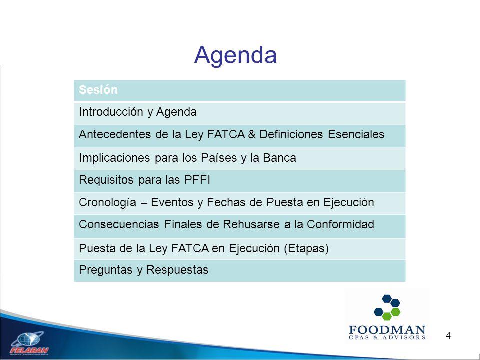 4 Agenda Sesión Introducción y Agenda Antecedentes de la Ley FATCA & Definiciones Esenciales Implicaciones para los Países y la Banca Requisitos para