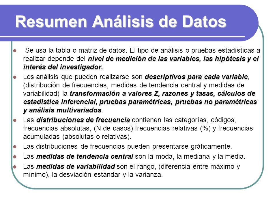 Resumen Análisis de Datos nivel de medición de las variables, las hipótesis y el interés del investigador. Se usa la tabla o matriz de datos. El tipo