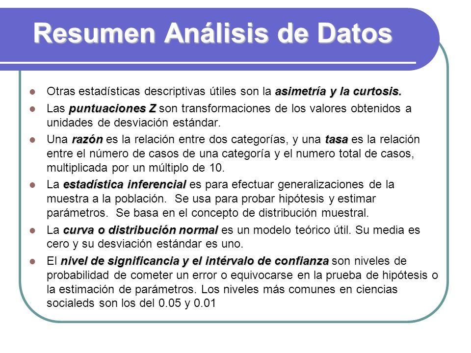 Resumen Análisis de Datos asimetría y la curtosis. Otras estadísticas descriptivas útiles son la asimetría y la curtosis. puntuaciones Z Las puntuacio
