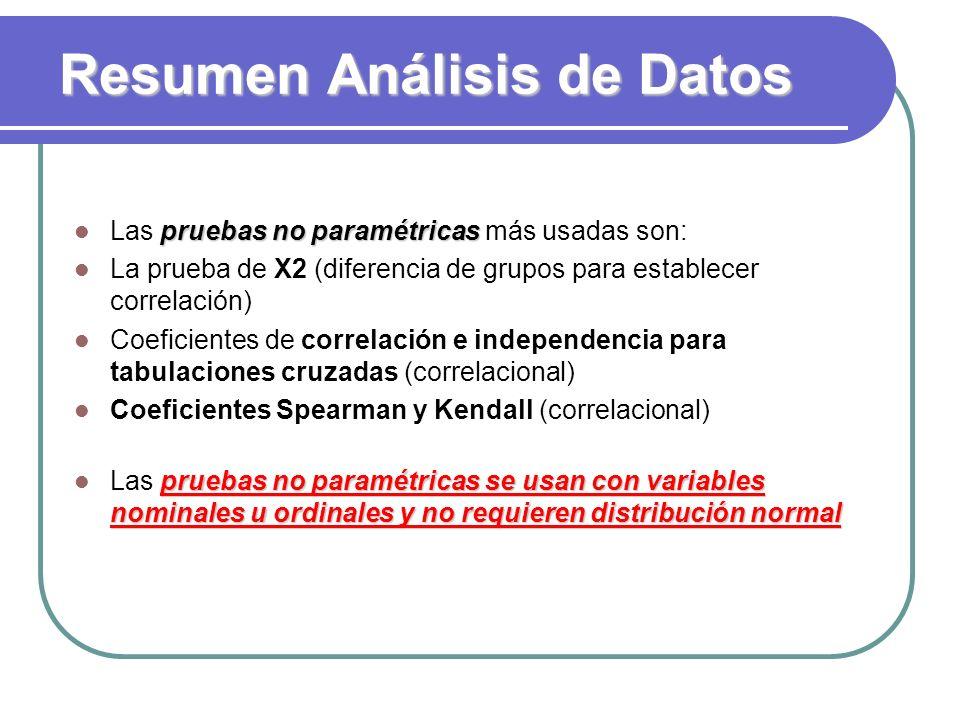 Resumen Análisis de Datos pruebas no paramétricas Las pruebas no paramétricas más usadas son: La prueba de X2 (diferencia de grupos para establecer co