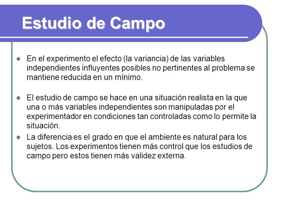 Estudio de Campo En el experimento el efecto (la variancia) de las variables independientes influyentes posibles no pertinentes al problema se mantien