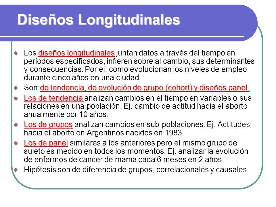 Diseños Longitudinales diseños longitudinales Los diseños longitudinales juntan datos a través del tiempo en períodos especificados, infieren sobre al