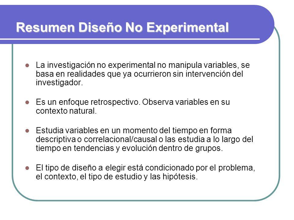 Resumen Diseño No Experimental La investigación no experimental no manipula variables, se basa en realidades que ya ocurrieron sin intervención del in