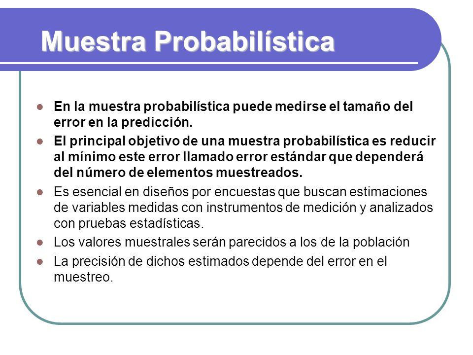 Muestra Probabilística En la muestra probabilística puede medirse el tamaño del error en la predicción. El principal objetivo de una muestra probabilí