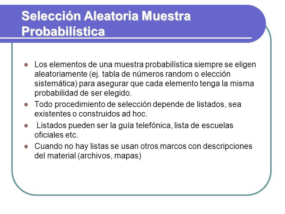 Selección Aleatoria Muestra Probabilística Los elementos de una muestra probabilística siempre se eligen aleatoriamente (ej. tabla de números random o