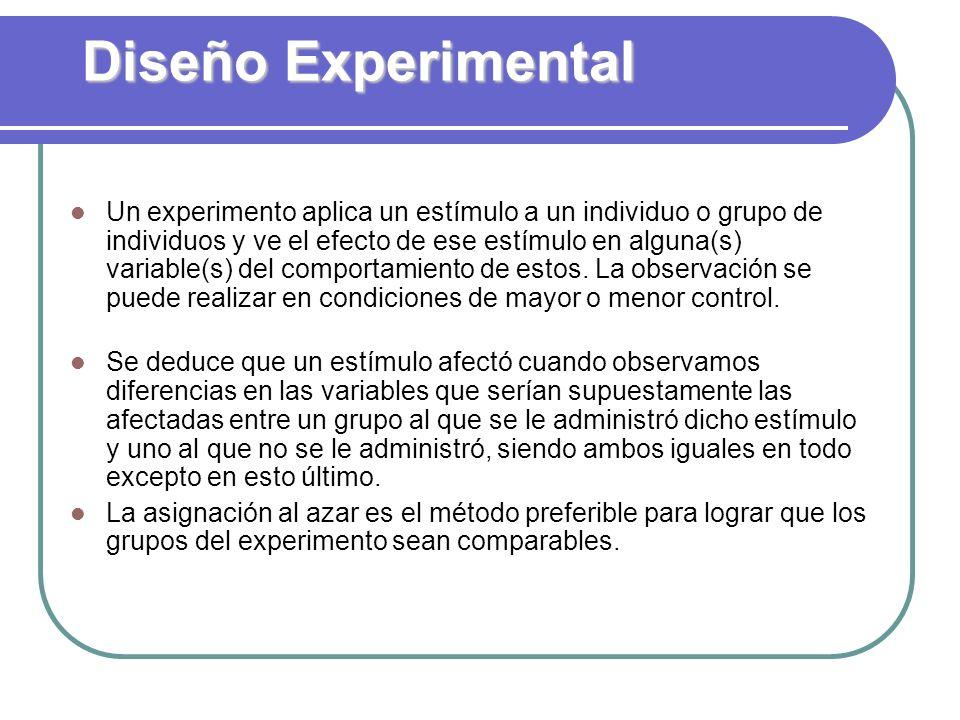 Diseño Experimental Un experimento aplica un estímulo a un individuo o grupo de individuos y ve el efecto de ese estímulo en alguna(s) variable(s) del