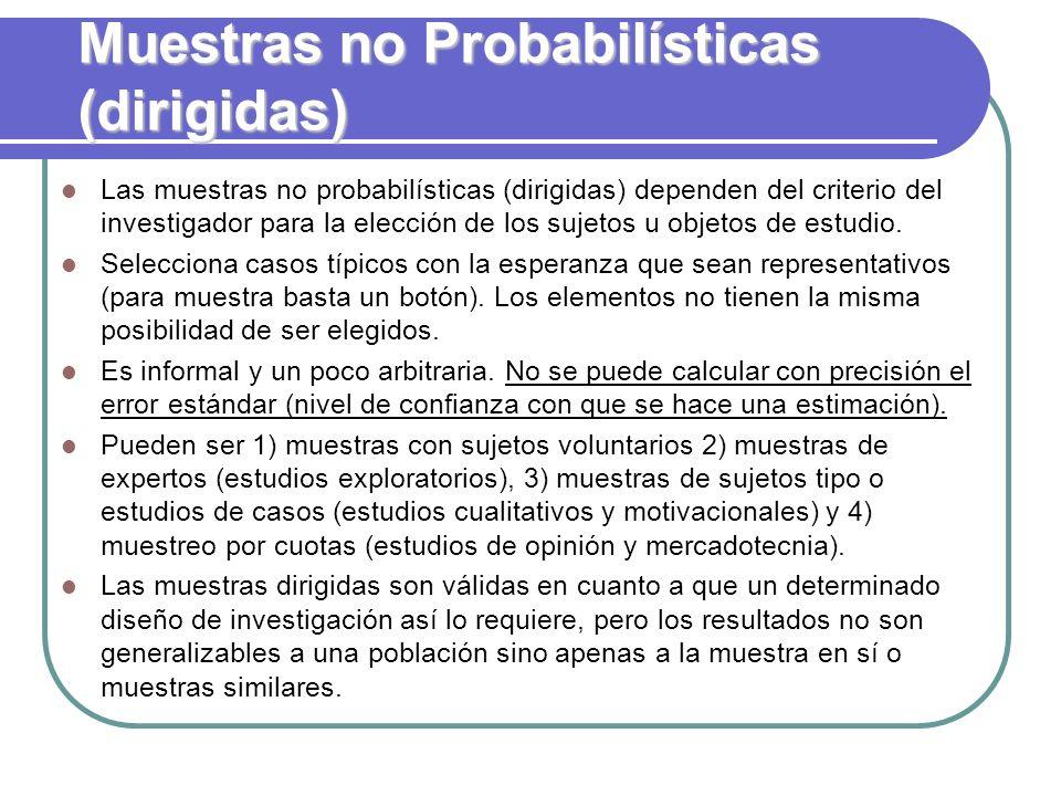 Muestras no Probabilísticas (dirigidas) Las muestras no probabilísticas (dirigidas) dependen del criterio del investigador para la elección de los suj