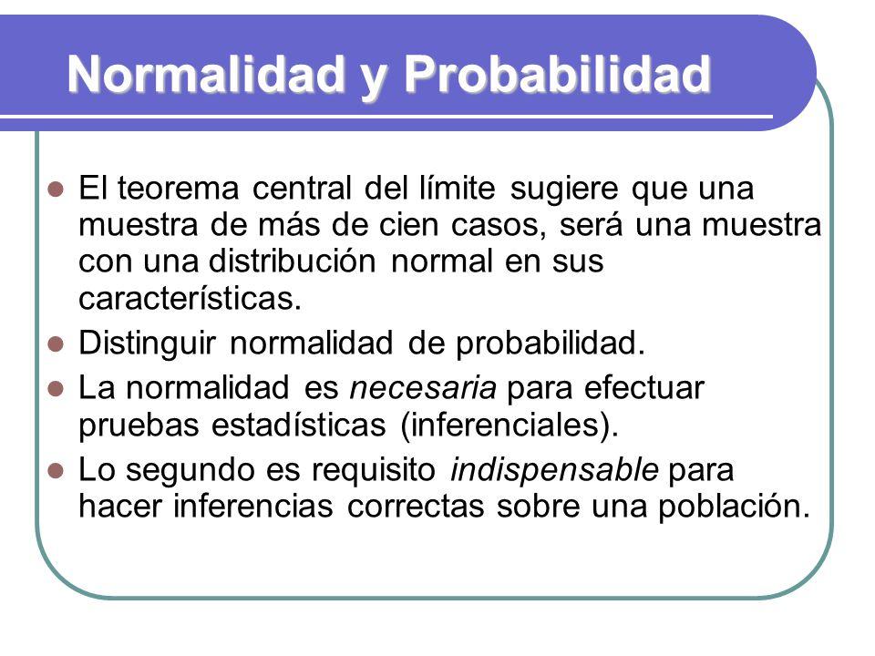 Normalidad y Probabilidad El teorema central del límite sugiere que una muestra de más de cien casos, será una muestra con una distribución normal en