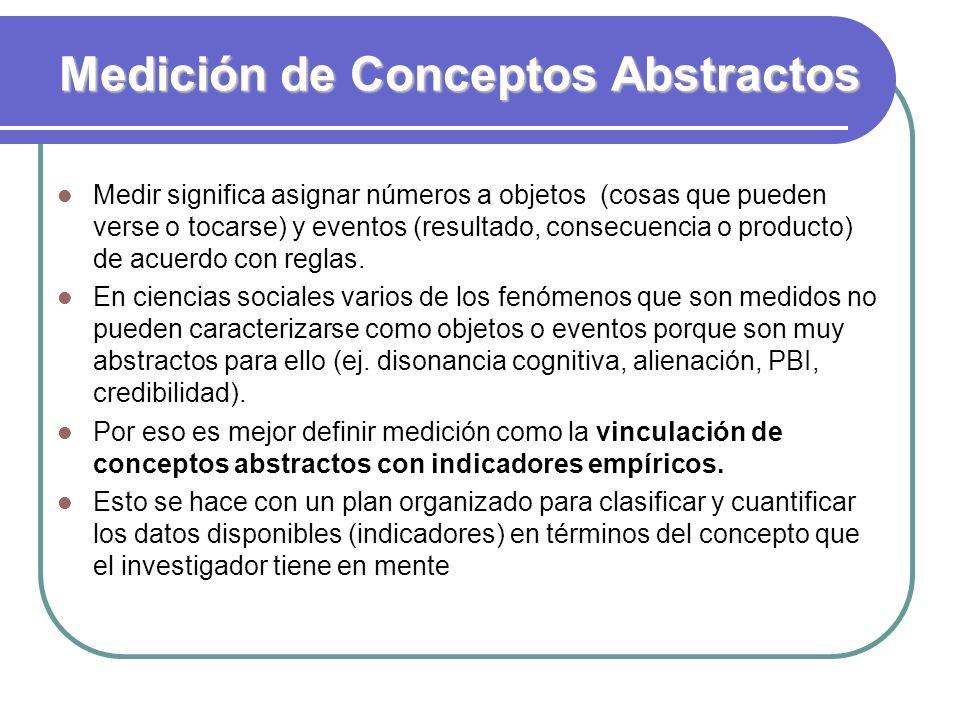 Medición de Conceptos Abstractos Medir significa asignar números a objetos (cosas que pueden verse o tocarse) y eventos (resultado, consecuencia o pro