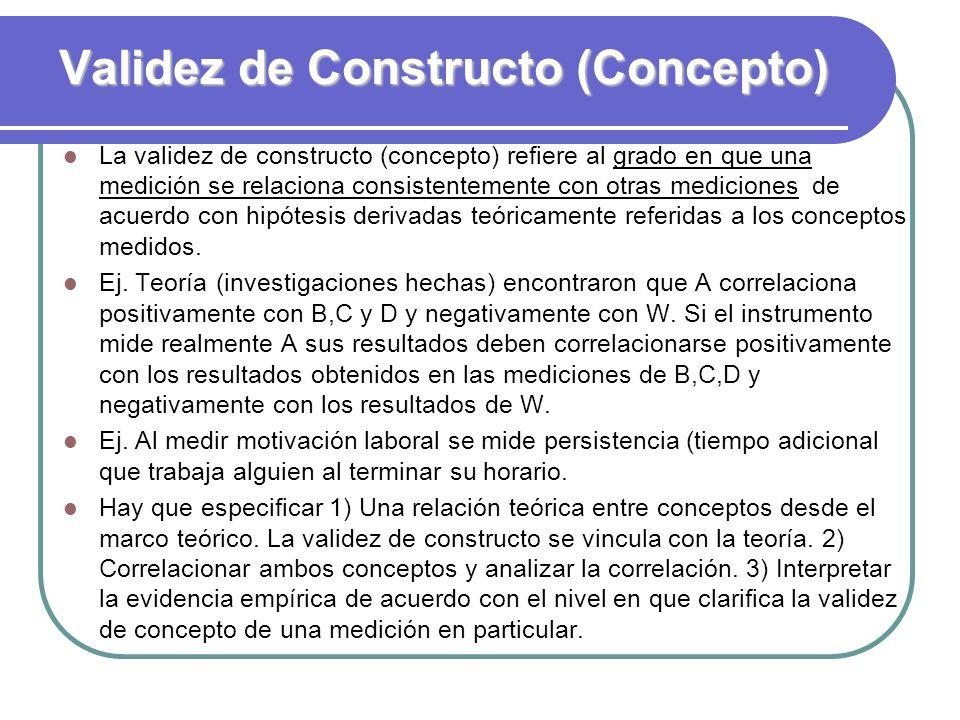 Validez de Constructo (Concepto) La validez de constructo (concepto) refiere al grado en que una medición se relaciona consistentemente con otras medi