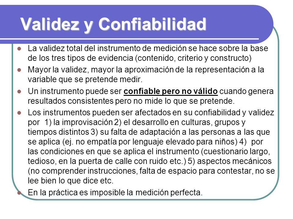 Validez y Confiabilidad La validez total del instrumento de medición se hace sobre la base de los tres tipos de evidencia (contenido, criterio y const