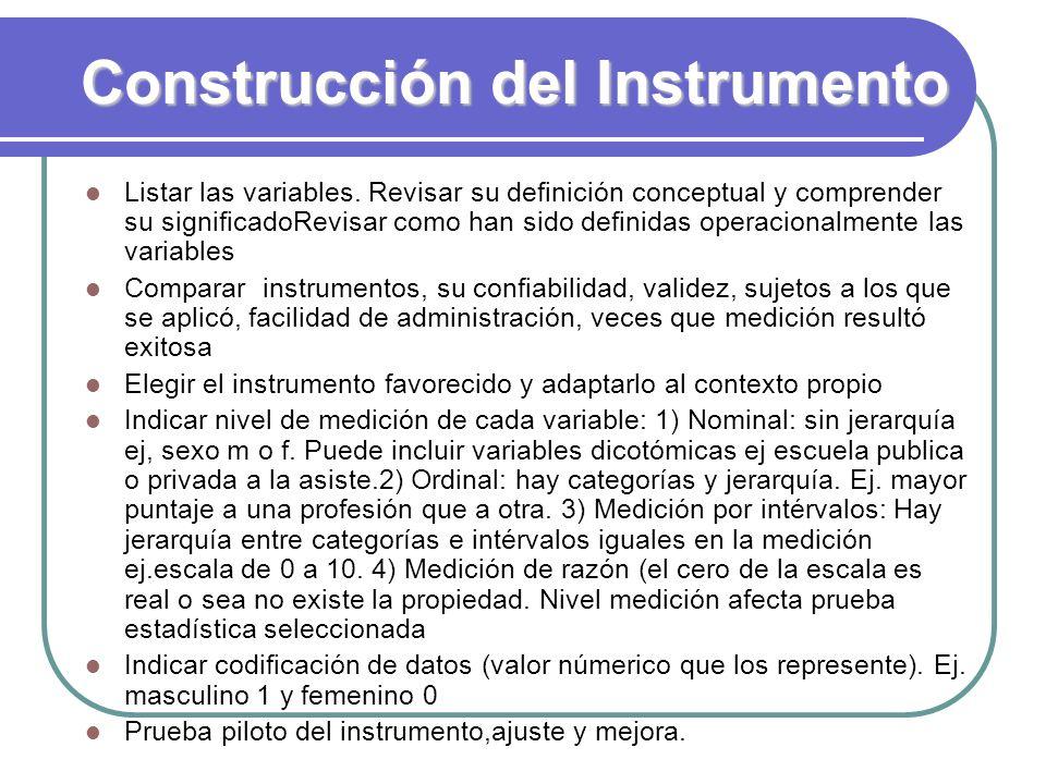 Construcción del Instrumento Listar las variables. Revisar su definición conceptual y comprender su significadoRevisar como han sido definidas operaci
