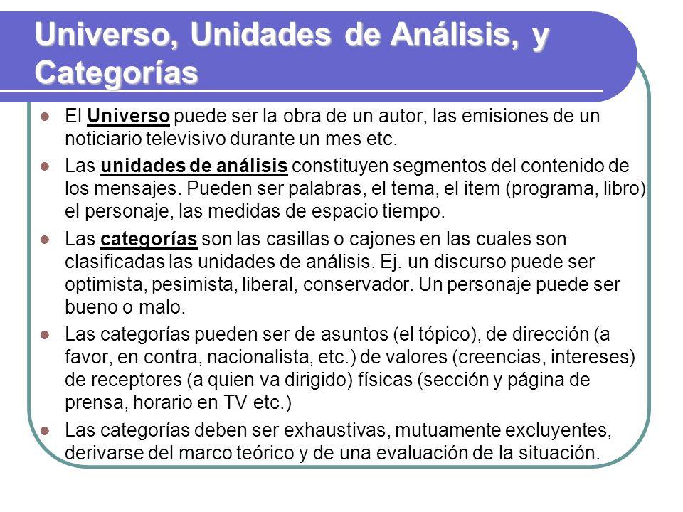 Universo, Unidades de Análisis, y Categorías El Universo puede ser la obra de un autor, las emisiones de un noticiario televisivo durante un mes etc.