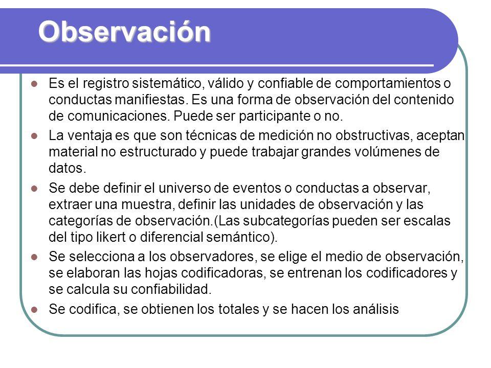 Observación Es el registro sistemático, válido y confiable de comportamientos o conductas manifiestas. Es una forma de observación del contenido de co