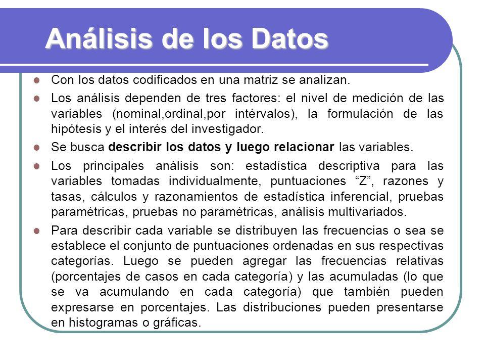 Análisis de los Datos Con los datos codificados en una matriz se analizan. Los análisis dependen de tres factores: el nivel de medición de las variabl