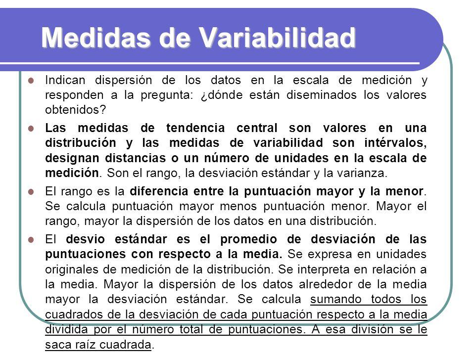 Medidas de Variabilidad Indican dispersión de los datos en la escala de medición y responden a la pregunta: ¿dónde están diseminados los valores obten