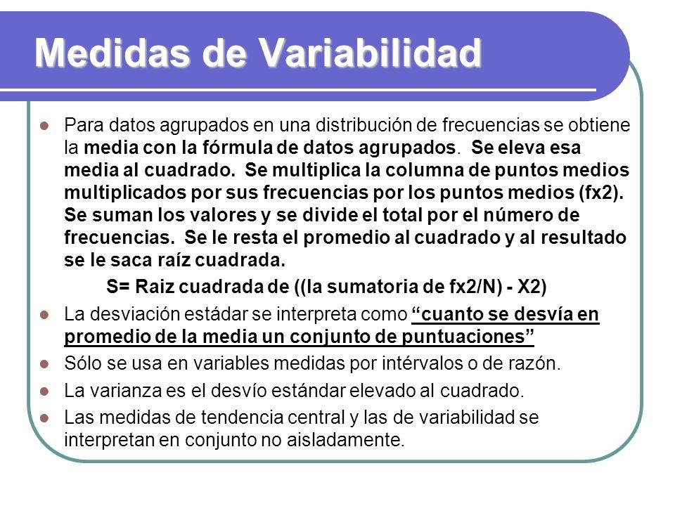 Medidas de Variabilidad Para datos agrupados en una distribución de frecuencias se obtiene la media con la fórmula de datos agrupados. Se eleva esa me