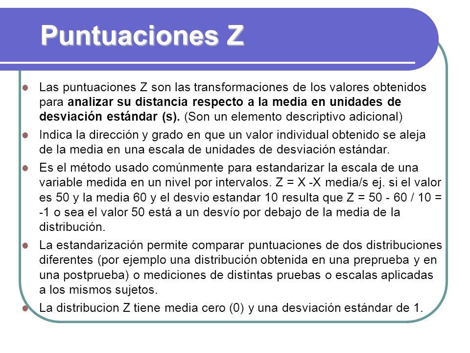 Puntuaciones Z Las puntuaciones Z son las transformaciones de los valores obtenidos para analizar su distancia respecto a la media en unidades de desv