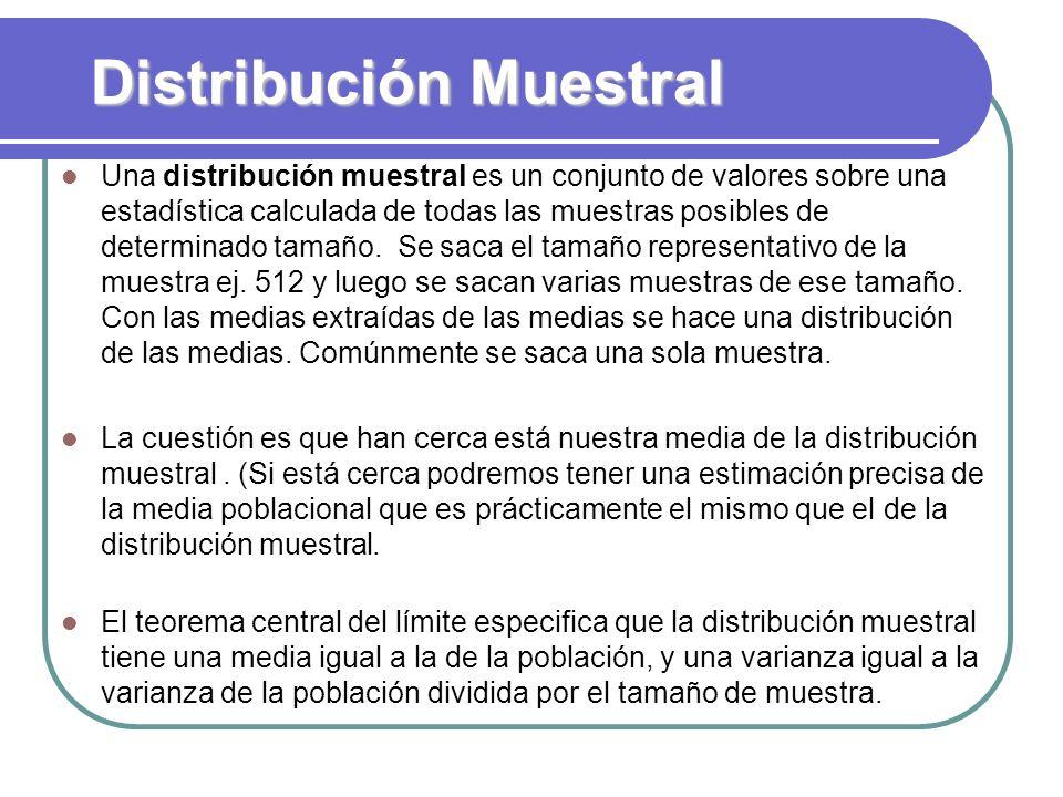 Distribución Muestral Una distribución muestral es un conjunto de valores sobre una estadística calculada de todas las muestras posibles de determinad