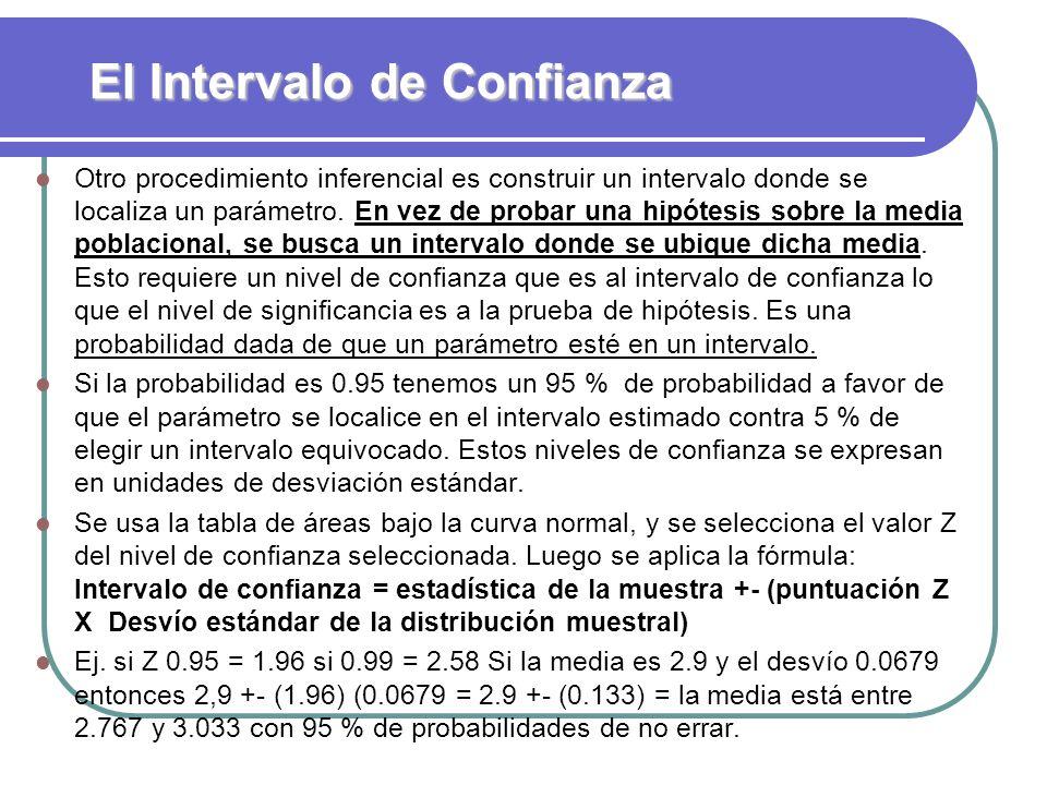 El Intervalo de Confianza Otro procedimiento inferencial es construir un intervalo donde se localiza un parámetro. En vez de probar una hipótesis sobr