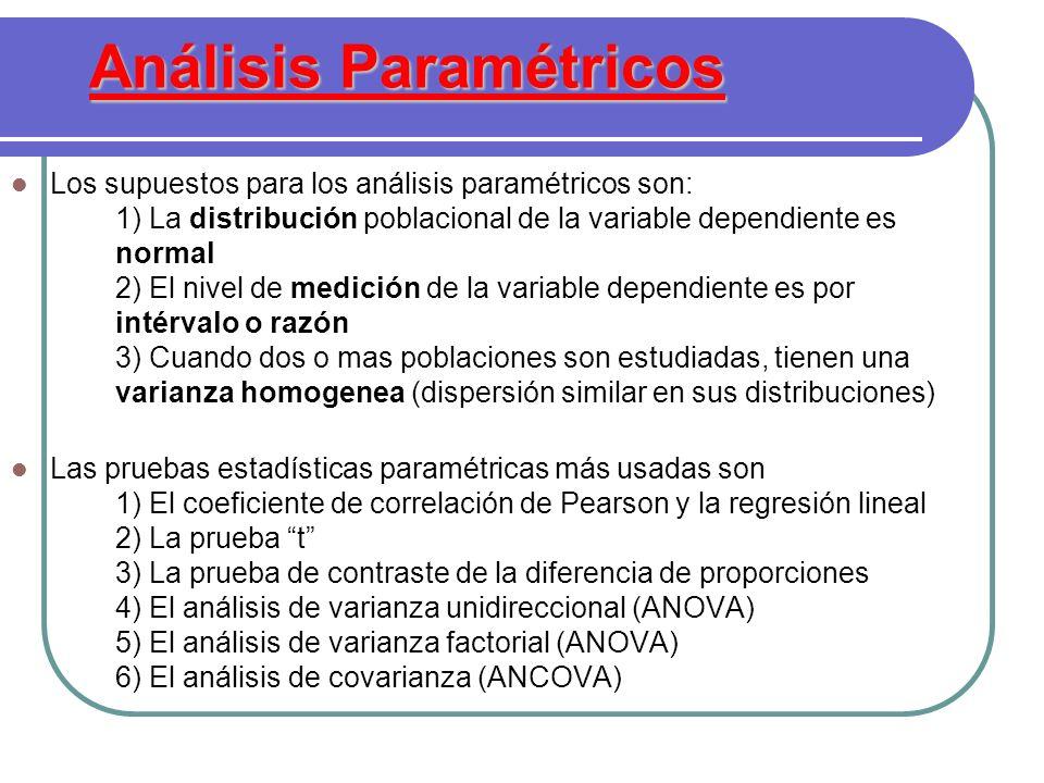 Análisis Paramétricos Los supuestos para los análisis paramétricos son: 1) La distribución poblacional de la variable dependiente es normal 2) El nive