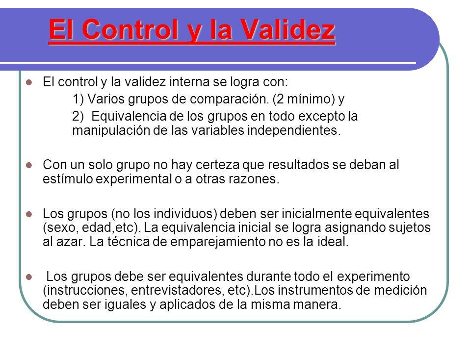El Control y la Validez El control y la validez interna se logra con: 1) Varios grupos de comparación. (2 mínimo) y 2) Equivalencia de los grupos en t