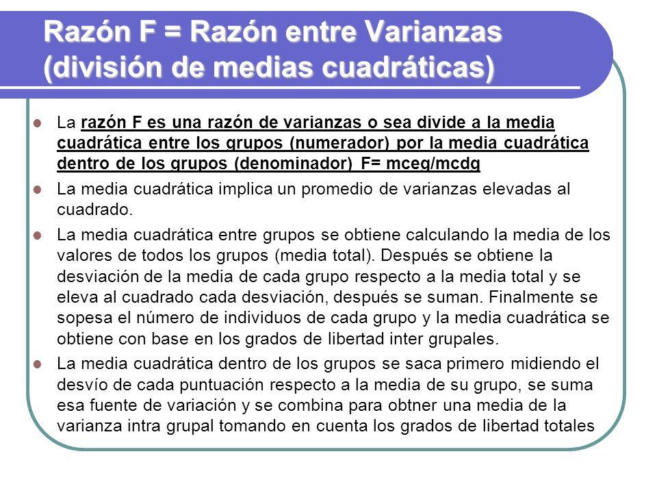 Razón F = Razón entre Varianzas (división de medias cuadráticas) La razón F es una razón de varianzas o sea divide a la media cuadrática entre los gru