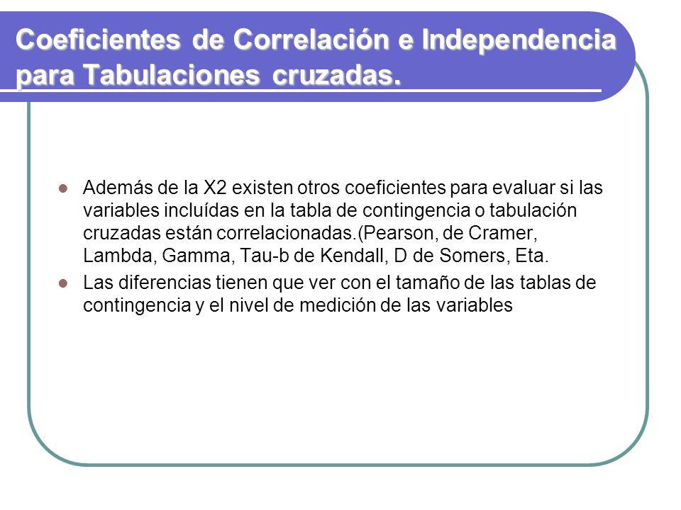 Coeficientes de Correlación e Independencia para Tabulaciones cruzadas. Además de la X2 existen otros coeficientes para evaluar si las variables inclu