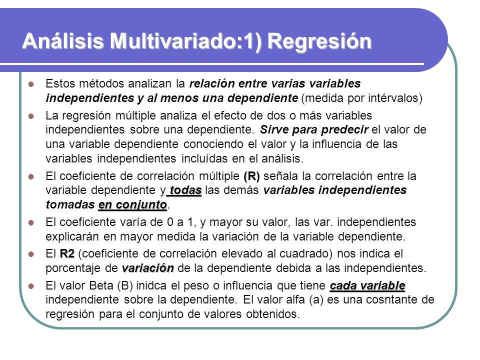 Análisis Multivariado:1) Regresión Estos métodos analizan la relación entre varias variables independientes y al menos una dependiente (medida por int