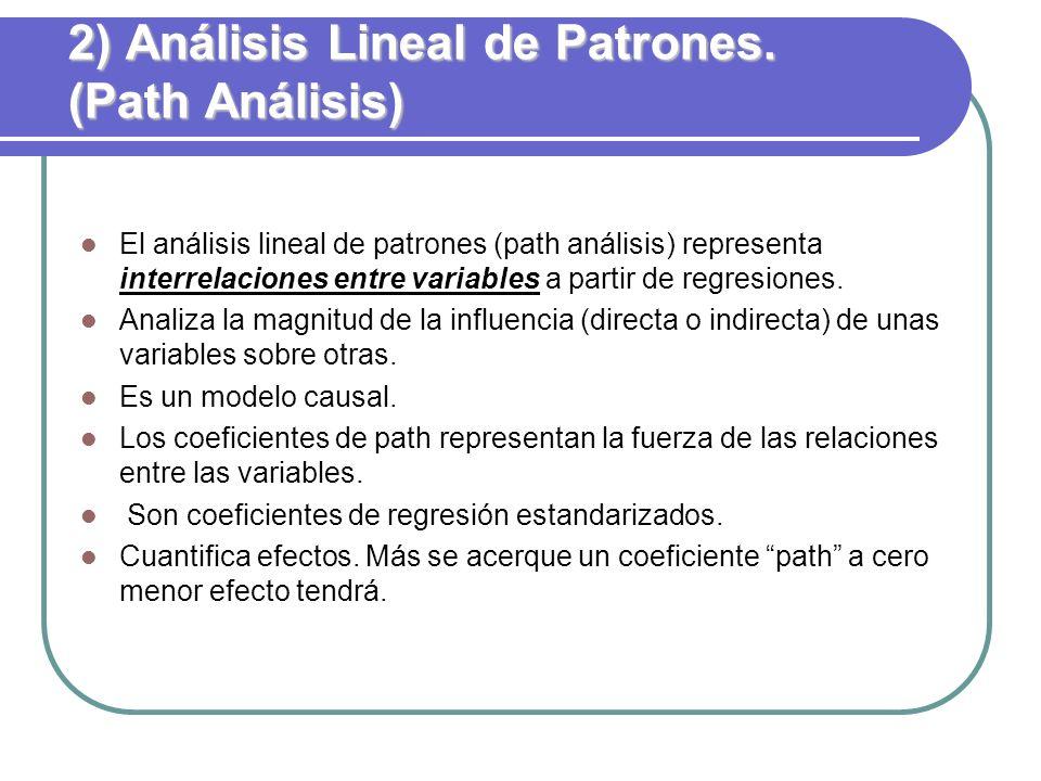 2) Análisis Lineal de Patrones. (Path Análisis) El análisis lineal de patrones (path análisis) representa interrelaciones entre variables a partir de