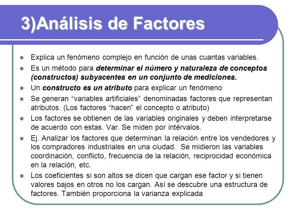 3)Análisis de Factores Explica un fenómeno complejo en función de unas cuantas variables. determinar el número y naturaleza de conceptos (constructos)