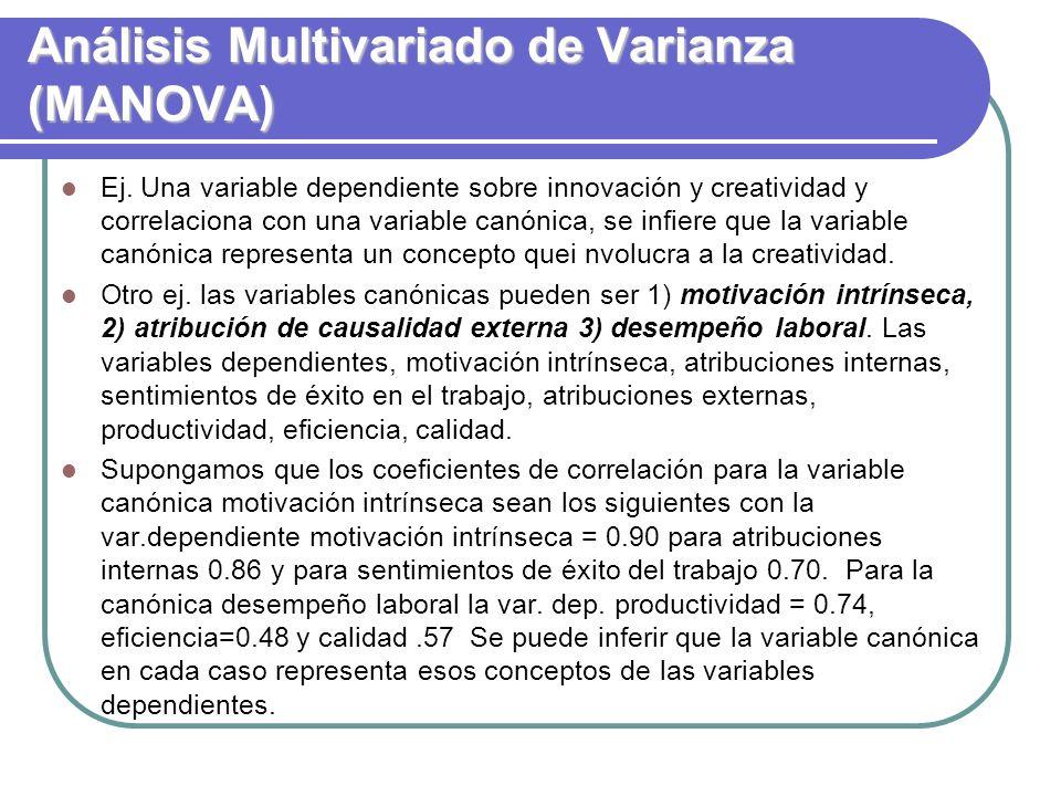 Análisis Multivariado de Varianza (MANOVA) Ej. Una variable dependiente sobre innovación y creatividad y correlaciona con una variable canónica, se in