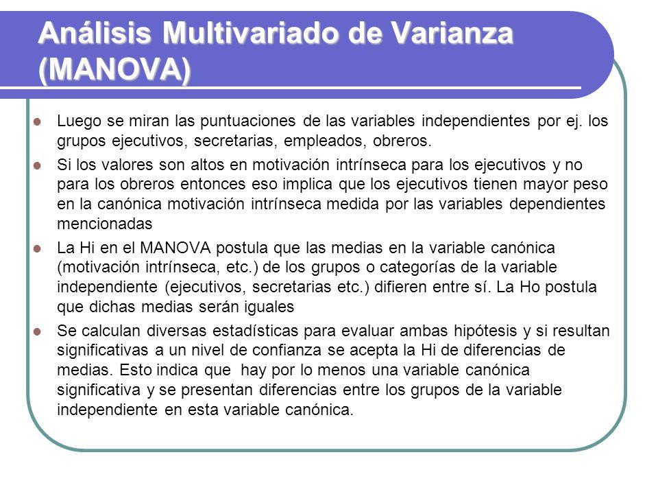 Análisis Multivariado de Varianza (MANOVA) Luego se miran las puntuaciones de las variables independientes por ej. los grupos ejecutivos, secretarias,