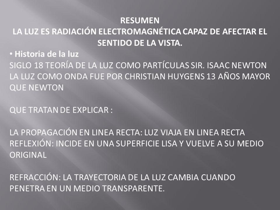 RESUMEN LA LUZ ES RADIACIÓN ELECTROMAGNÉTICA CAPAZ DE AFECTAR EL SENTIDO DE LA VISTA. Historia de la luz SIGLO 18 TEORÍA DE LA LUZ COMO PARTÍCULAS SIR