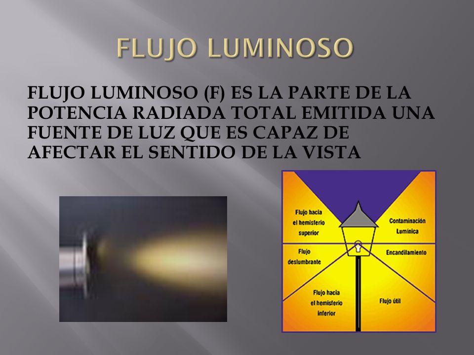 FLUJO LUMINOSO (F) ES LA PARTE DE LA POTENCIA RADIADA TOTAL EMITIDA UNA FUENTE DE LUZ QUE ES CAPAZ DE AFECTAR EL SENTIDO DE LA VISTA