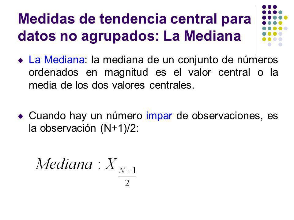 Medidas de tendencia central para datos no agrupados: La Mediana La Mediana: la mediana de un conjunto de números ordenados en magnitud es el valor ce
