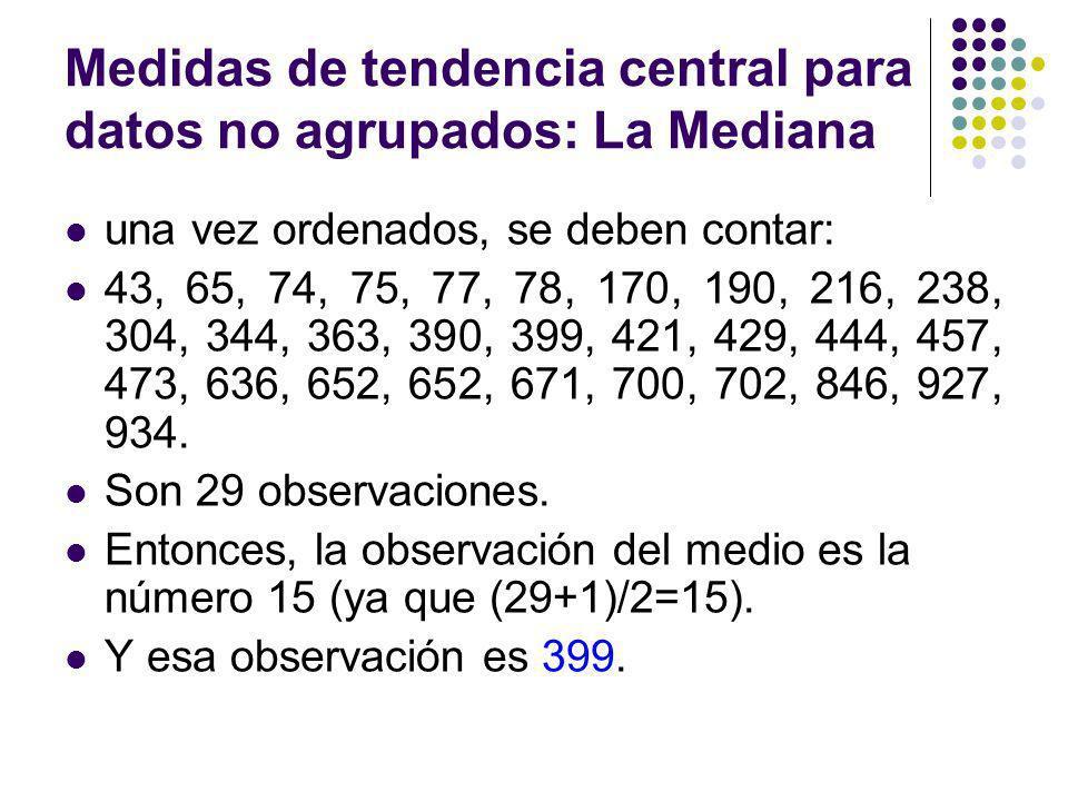 Medidas de tendencia central para datos no agrupados: La Mediana una vez ordenados, se deben contar: 43, 65, 74, 75, 77, 78, 170, 190, 216, 238, 304,
