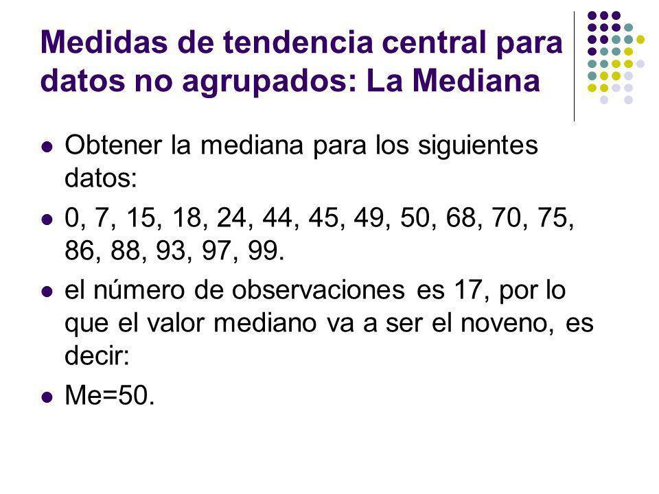 Medidas de tendencia central para datos no agrupados: La Mediana Obtener la mediana para los siguientes datos: 0, 7, 15, 18, 24, 44, 45, 49, 50, 68, 7