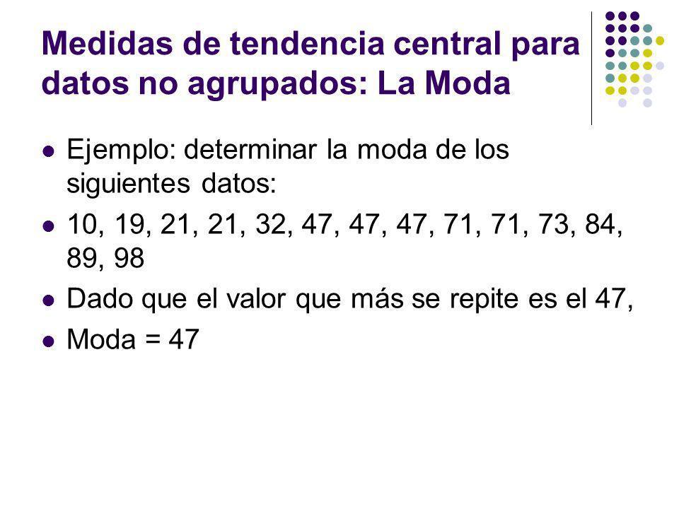 Medidas de tendencia central para datos no agrupados: La Moda Ejemplo: determinar la moda de los siguientes datos: 10, 19, 21, 21, 32, 47, 47, 47, 71,