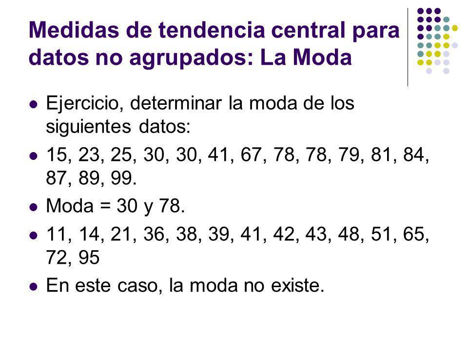 Medidas de tendencia central para datos no agrupados: La Moda Ejercicio, determinar la moda de los siguientes datos: 15, 23, 25, 30, 30, 41, 67, 78, 7