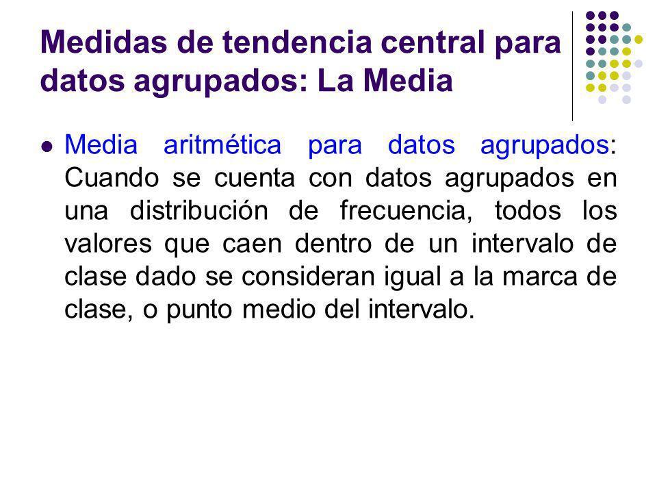 Medidas de tendencia central para datos agrupados: La Media Media aritmética para datos agrupados: Cuando se cuenta con datos agrupados en una distrib