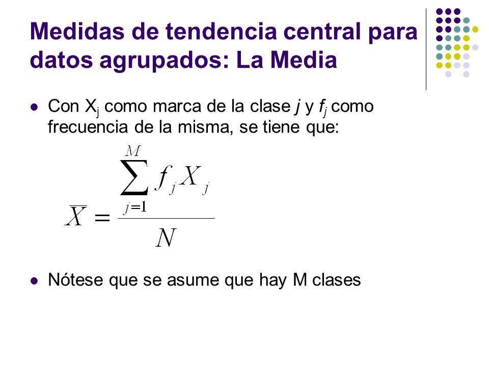 Medidas de tendencia central para datos agrupados: La Media Con X j como marca de la clase j y f j como frecuencia de la misma, se tiene que: Nótese q