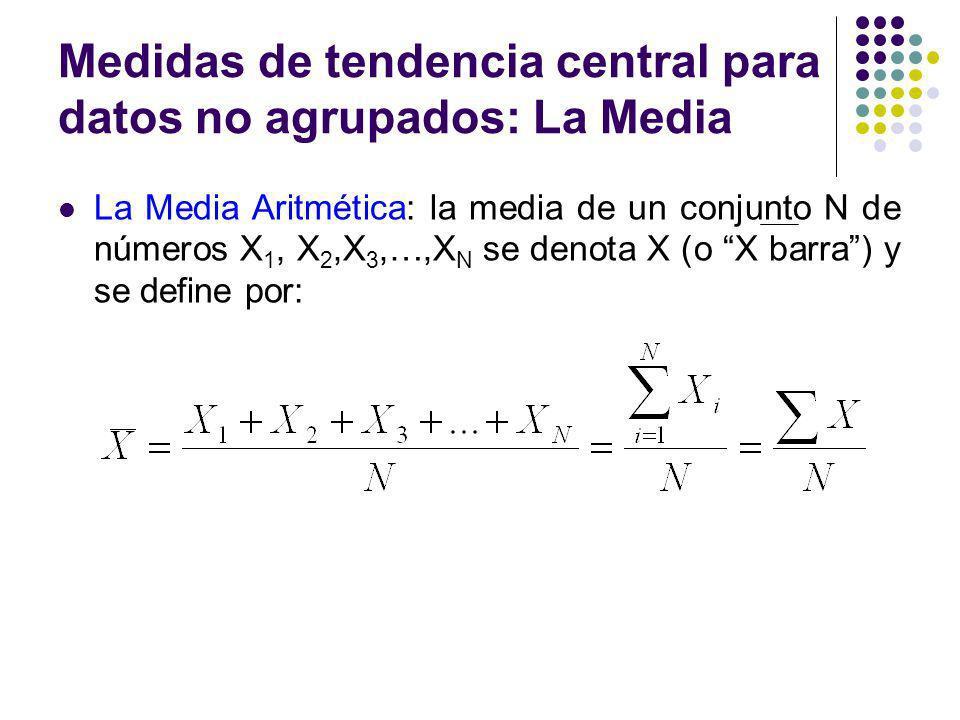 Medidas de tendencia central para datos no agrupados: La Media La Media Aritmética: la media de un conjunto N de números X 1, X 2,X 3,…,X N se denota