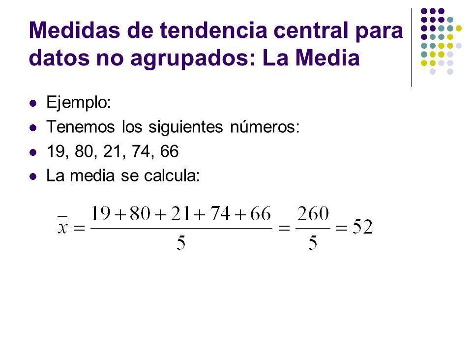 Medidas de tendencia central para datos no agrupados: La Mediana Ejemplo: Si tenemos el siguiente conjunto de datos: 344, 190, 399, 473, 170, 363, 43, 671, 75, 421, 702, 846, 74, 652, 216, 304, 390, 457, 652, 700, 636, 934, 77, 444, 238, 78, 429,65, 927 para obtener la mediana, primero debemos ordenarlos: 43, 65, 74, 75, 77, 78, 170, 190, 216, 238, 304, 344, 363, 390, 399, 421, 429, 444, 457, 473, 636, 652, 652, 671, 700, 702, 846, 927, 934.