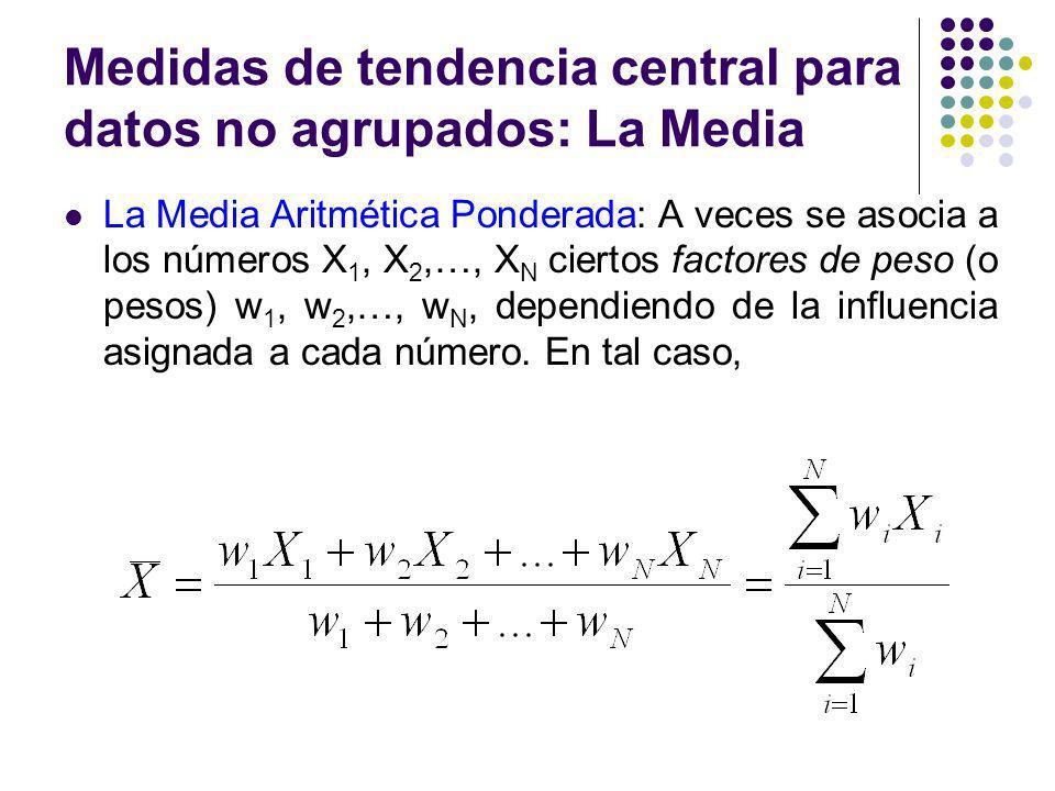 Medidas de tendencia central para datos no agrupados: La Media La Media Aritmética Ponderada: A veces se asocia a los números X 1, X 2,…, X N ciertos