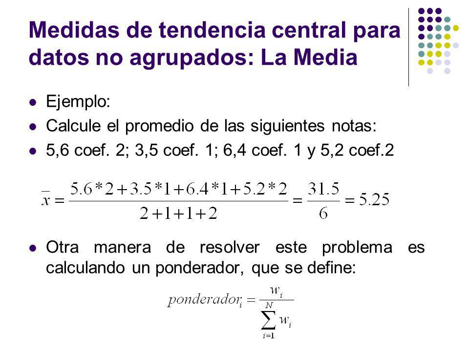 Medidas de tendencia central para datos no agrupados: La Media Ejemplo: Calcule el promedio de las siguientes notas: 5,6 coef. 2; 3,5 coef. 1; 6,4 coe