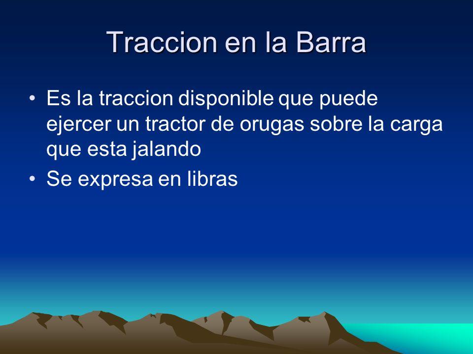 Traccion en la Barra Es la traccion disponible que puede ejercer un tractor de orugas sobre la carga que esta jalando Se expresa en libras